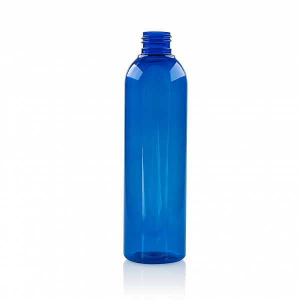 250 ml fles Basic Round PET blauw 24.410