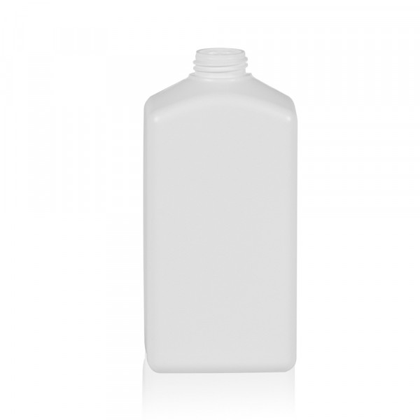 500 ml fles Standard Square geribbeld HDPE wit 28.410